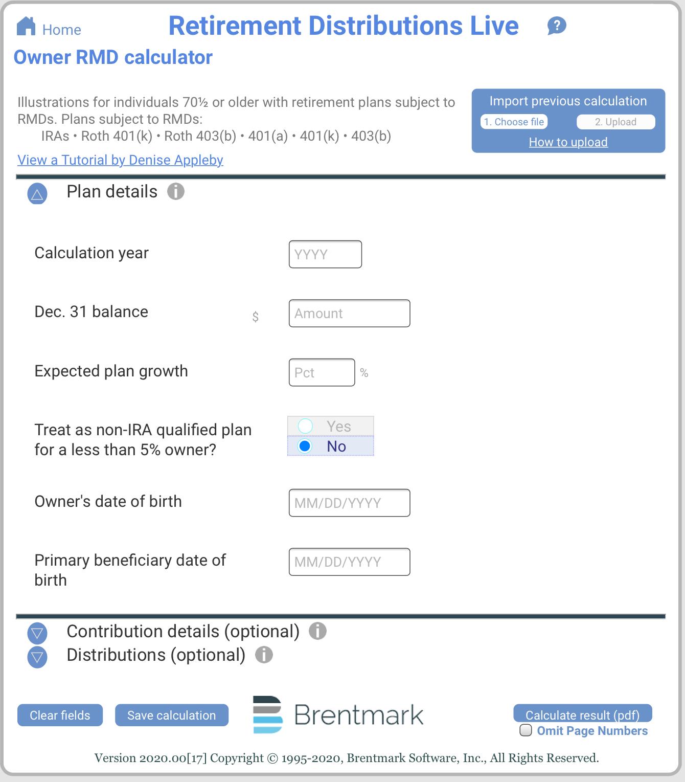 Owner RMD Calculator