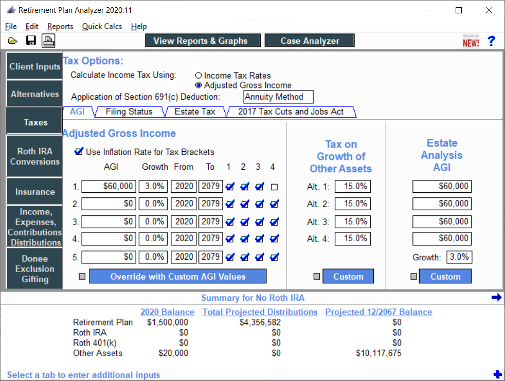 Taxes AGI Method