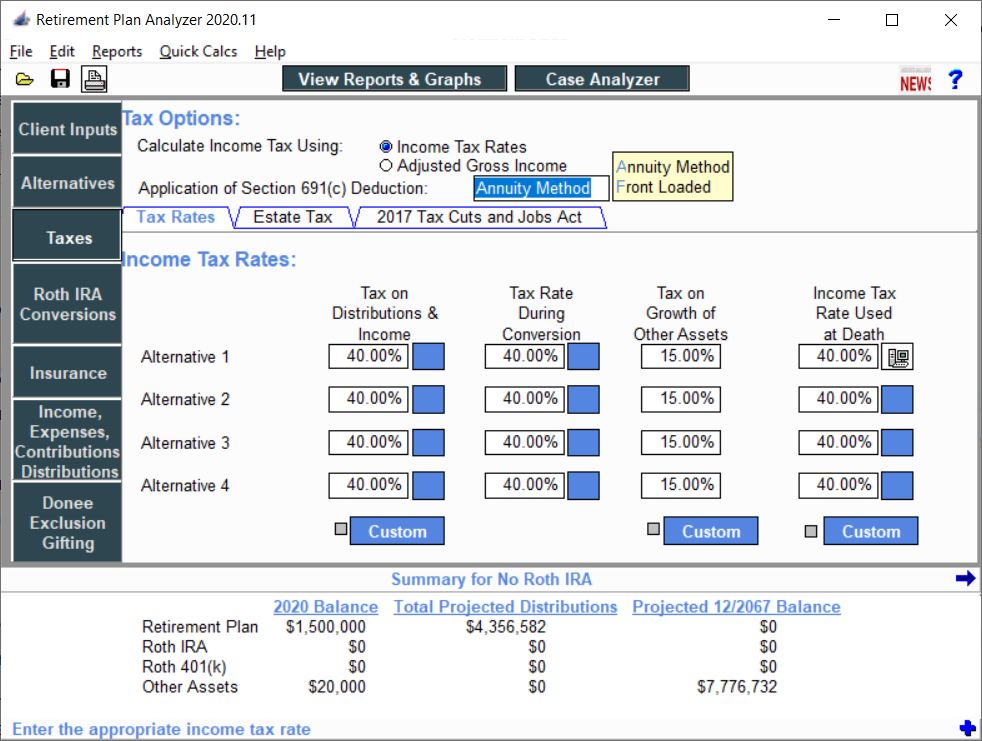 Taxes Entered Rates