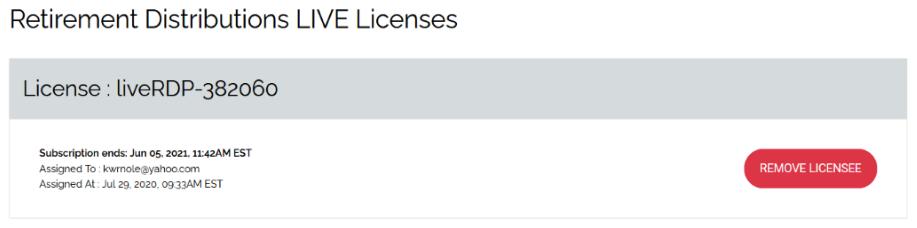 Remove Licensee