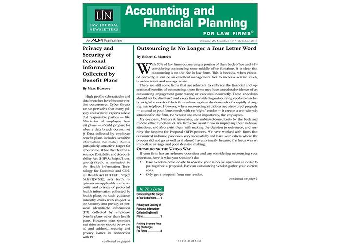 Accounting and Financial Planning Newsletter by: Law Journal Newsletter an ALM Publication